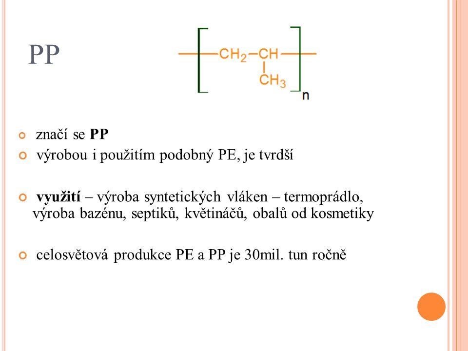 PP značí se PP výrobou i použitím podobný PE, je tvrdší využití – výroba syntetických vláken – termoprádlo, výroba bazénu, septiků, květináčů, obalů od kosmetiky celosvětová produkce PE a PP je 30mil.