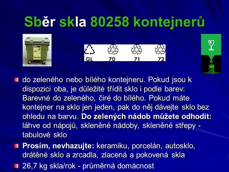 Sběr skla 80258 kontejnerů do zeleného nebo bílého kontejneru. Pokud jsou k dispozici oba, je důležité třídit sklo i podle barev: Barevné do zeleného,