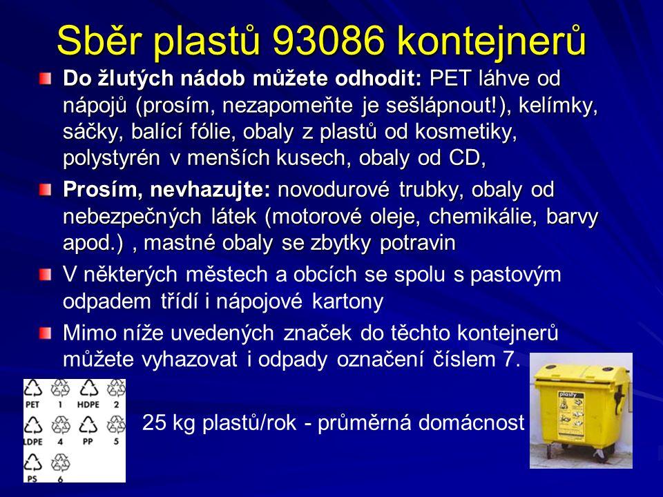 Sběr plastů 93086 kontejnerů Do žlutých nádob můžete odhodit: PET láhve od nápojů (prosím, nezapomeňte je sešlápnout!), kelímky, sáčky, balící fólie, obaly z plastů od kosmetiky, polystyrén v menších kusech, obaly od CD, Prosím, nevhazujte: novodurové trubky, obaly od nebezpečných látek (motorové oleje, chemikálie, barvy apod.), mastné obaly se zbytky potravin V některých městech a obcích se spolu s pastovým odpadem třídí i nápojové kartony Mimo níže uvedených značek do těchto kontejnerů můžete vyhazovat i odpady označení číslem 7.