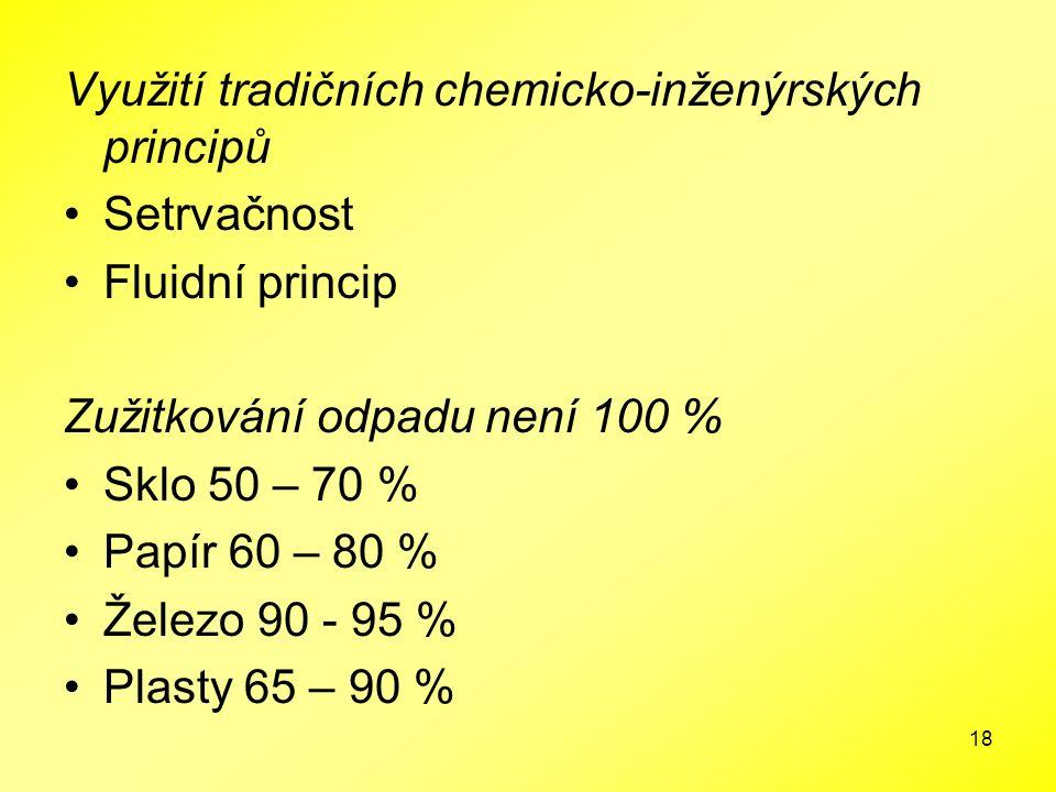 18 Využití tradičních chemicko-inženýrských principů Setrvačnost Fluidní princip Zužitkování odpadu není 100 % Sklo 50 – 70 % Papír 60 – 80 % Železo 9