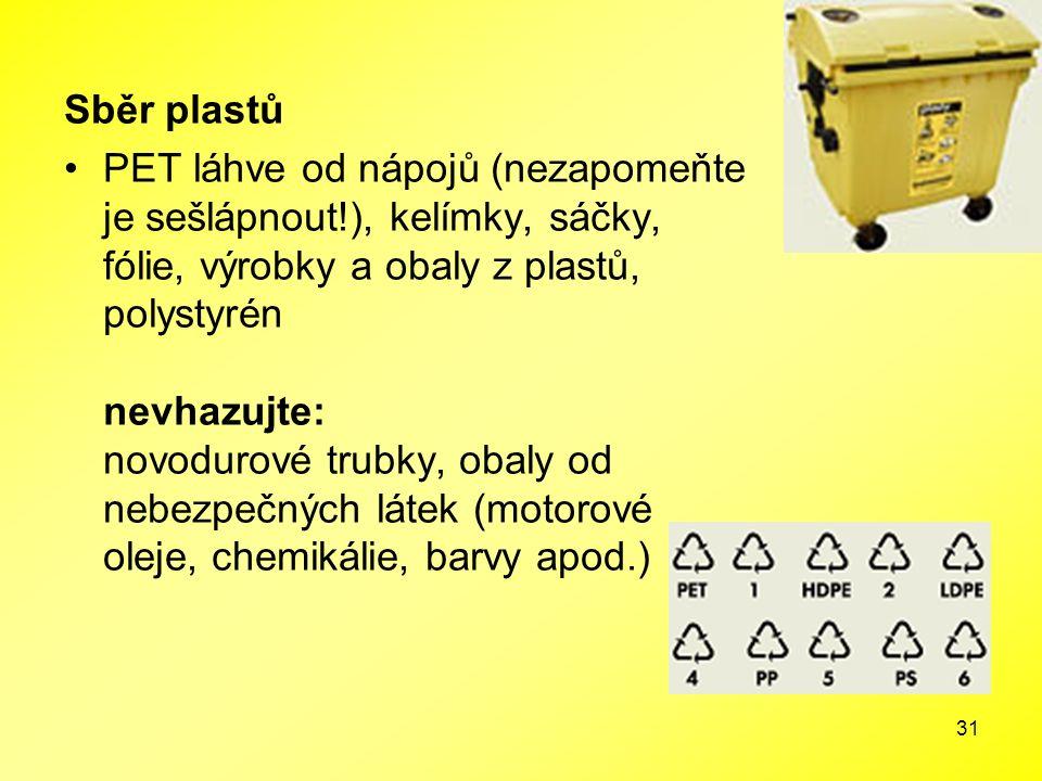 31 Sběr plastů PET láhve od nápojů (nezapomeňte je sešlápnout!), kelímky, sáčky, fólie, výrobky a obaly z plastů, polystyrén nevhazujte: novodurové tr