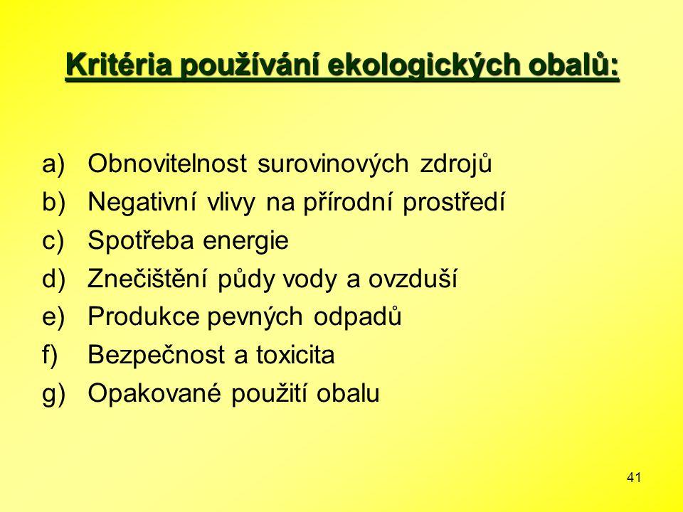 41 Kritéria používání ekologických obalů: a)Obnovitelnost surovinových zdrojů b)Negativní vlivy na přírodní prostředí c)Spotřeba energie d)Znečištění