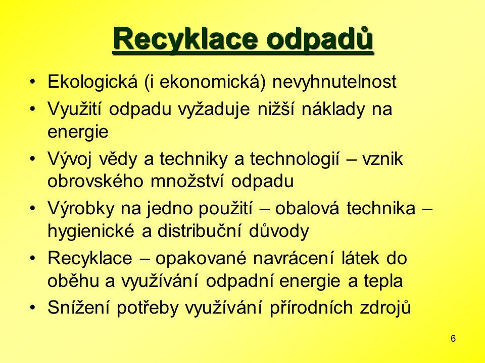 6 Recyklace odpadů Ekologická (i ekonomická) nevyhnutelnost Využití odpadu vyžaduje nižší náklady na energie Vývoj vědy a techniky a technologií – vzn