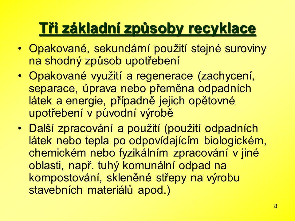 8 Tři základní způsoby recyklace Opakované, sekundární použití stejné suroviny na shodný způsob upotřebení Opakované využití a regenerace (zachycení,