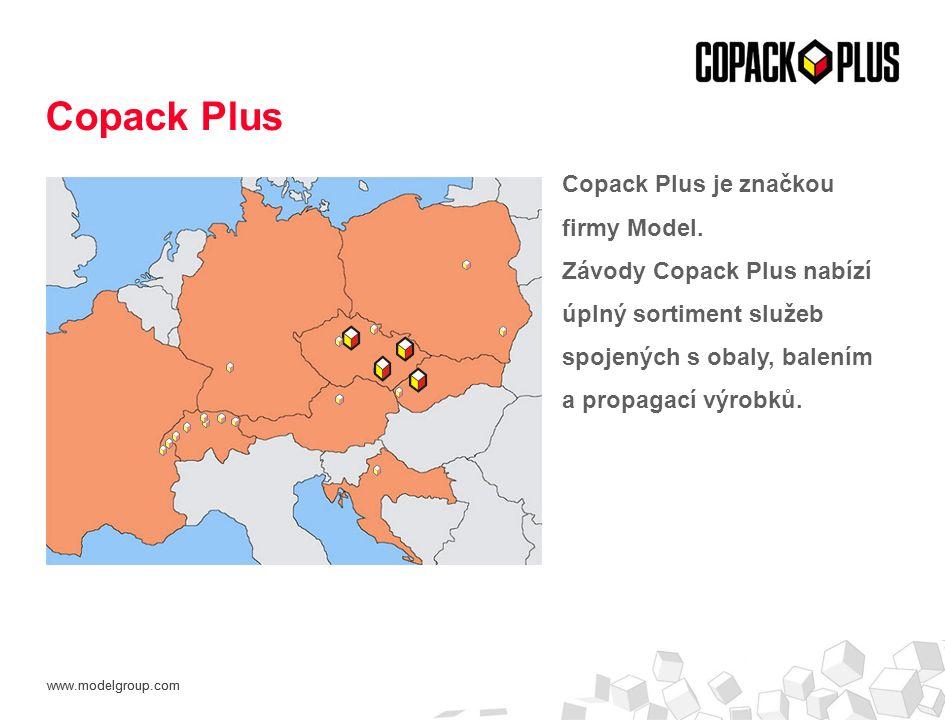 www.modelgroup.com Copack Plus je značkou firmy Model. Závody Copack Plus nabízí úplný sortiment služeb spojených s obaly, balením a propagací výrobků