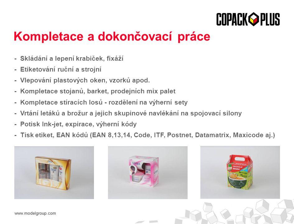 www.modelgroup.com - Skládání a lepení krabiček, fixáží - Etiketování ruční a strojní - Vlepování plastových oken, vzorků apod. - Kompletace stojanů,
