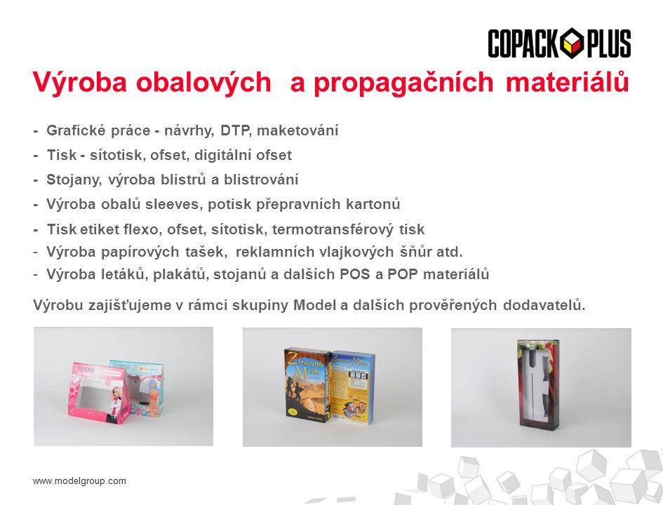 www.modelgroup.com - Grafické práce - návrhy, DTP, maketování - Tisk - sítotisk, ofset, digitální ofset - Stojany, výroba blistrů a blistrování - Výroba obalů sleeves, potisk přepravních kartonů - Tisk etiket flexo, ofset, sítotisk, termotransférový tisk - Výroba papírových tašek, reklamních vlajkových šňůr atd.