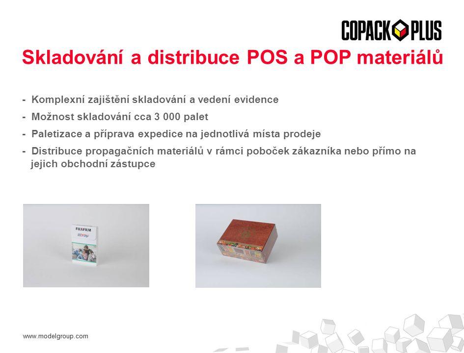www.modelgroup.com - Komplexní zajištění skladování a vedení evidence - Možnost skladování cca 3 000 palet - Paletizace a příprava expedice na jednotlivá místa prodeje - Distribuce propagačních materiálů v rámci poboček zákazníka nebo přímo na jejich obchodní zástupce Skladování a distribuce POS a POP materiálů