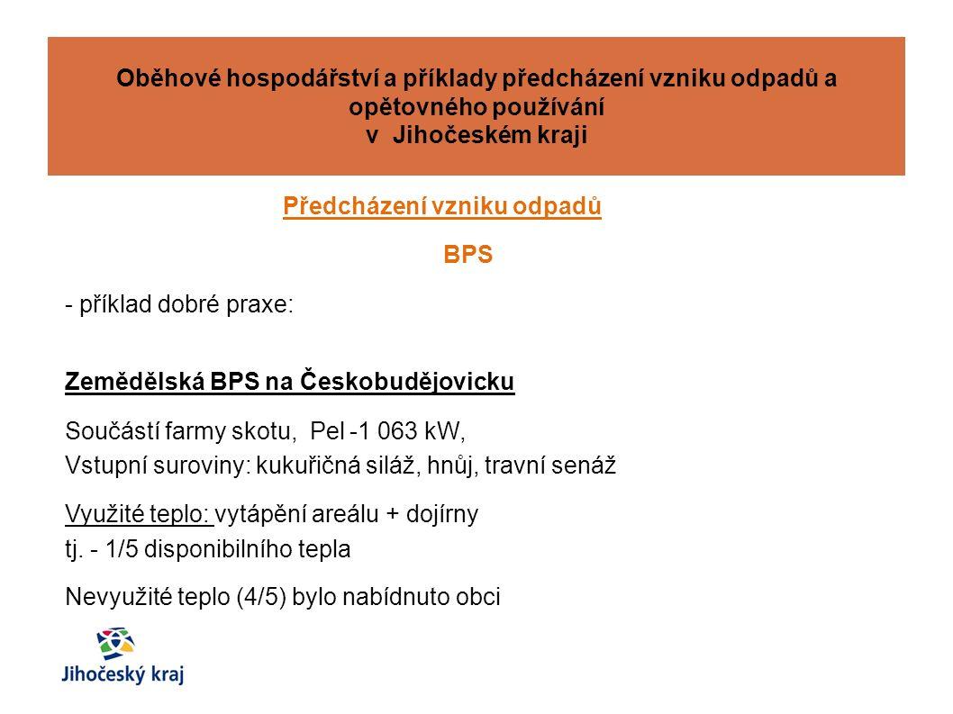 Předcházení vzniku odpadů BPS - příklad dobré praxe: Zemědělská BPS na Českobudějovicku Součástí farmy skotu, Pel -1 063 kW, Vstupní suroviny: kukuřičná siláž, hnůj, travní senáž Využité teplo: vytápění areálu + dojírny tj.