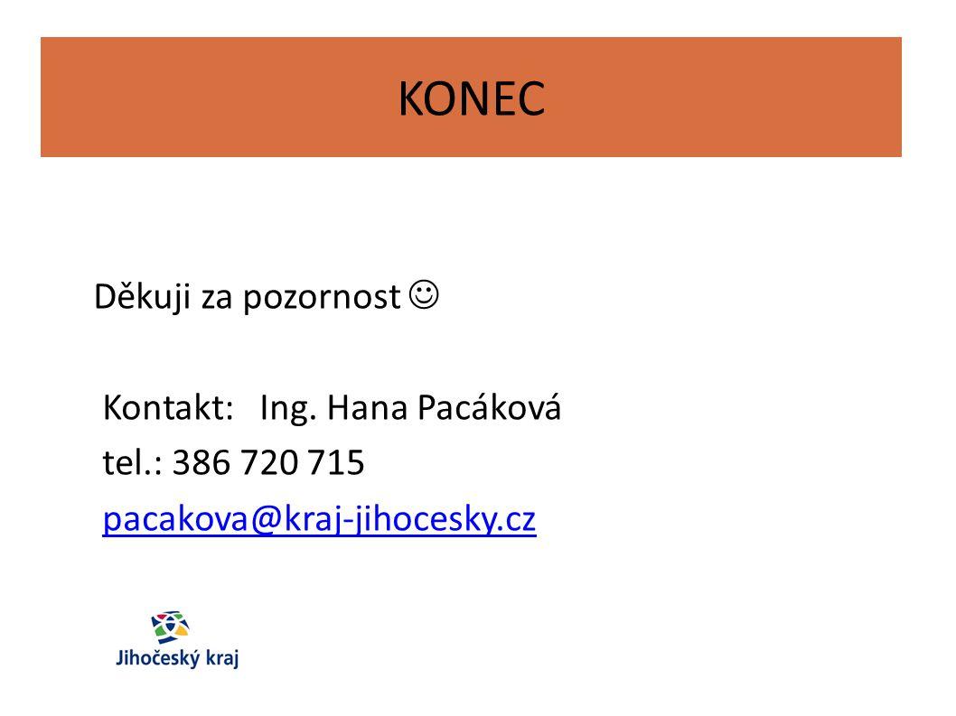 KONEC Děkuji za pozornost Kontakt: Ing. Hana Pacáková tel.: 386 720 715 pacakova@kraj-jihocesky.cz