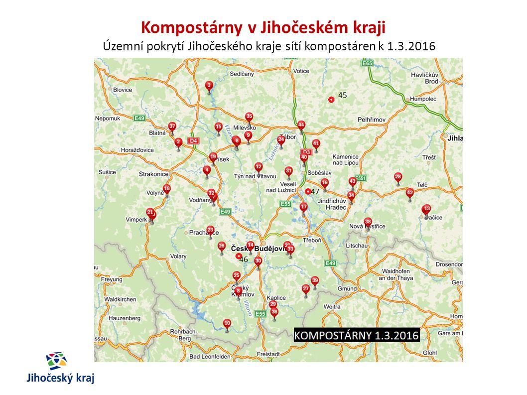 Kompostárny v Jihočeském kraji Územní pokrytí Jihočeského kraje sítí kompostáren k 1.3.2016