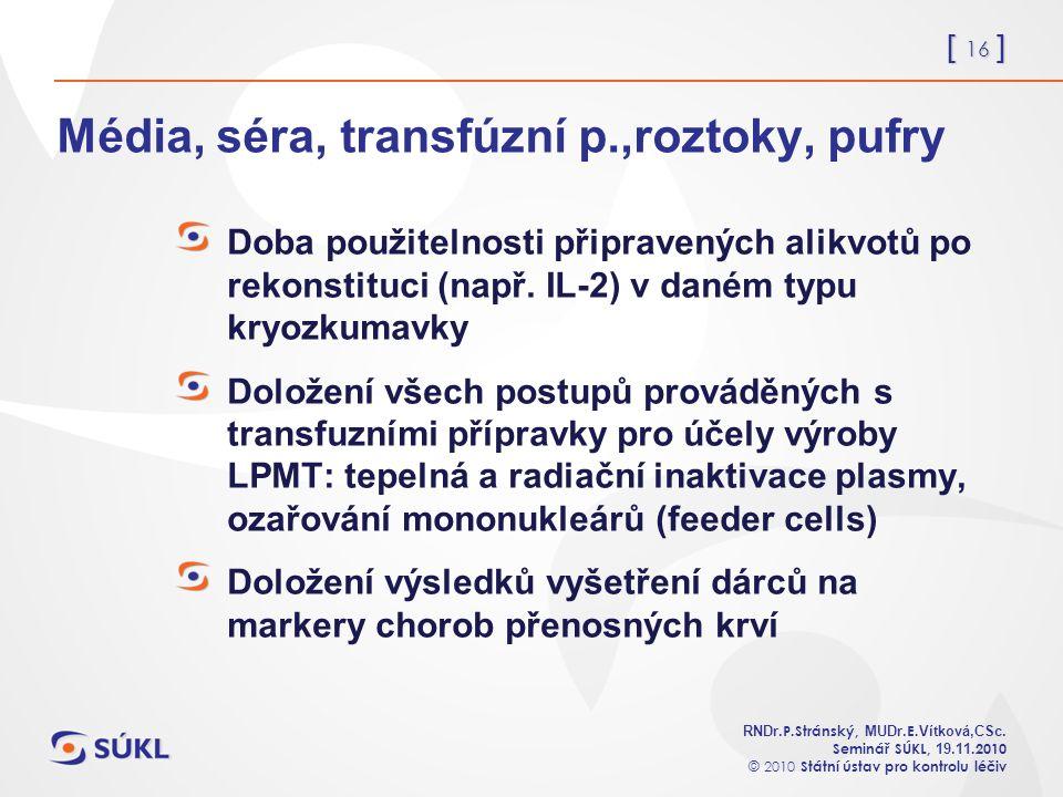 [ 16 ] RNDr. P.Stránský, MUDr. E. Vítková,CSc.