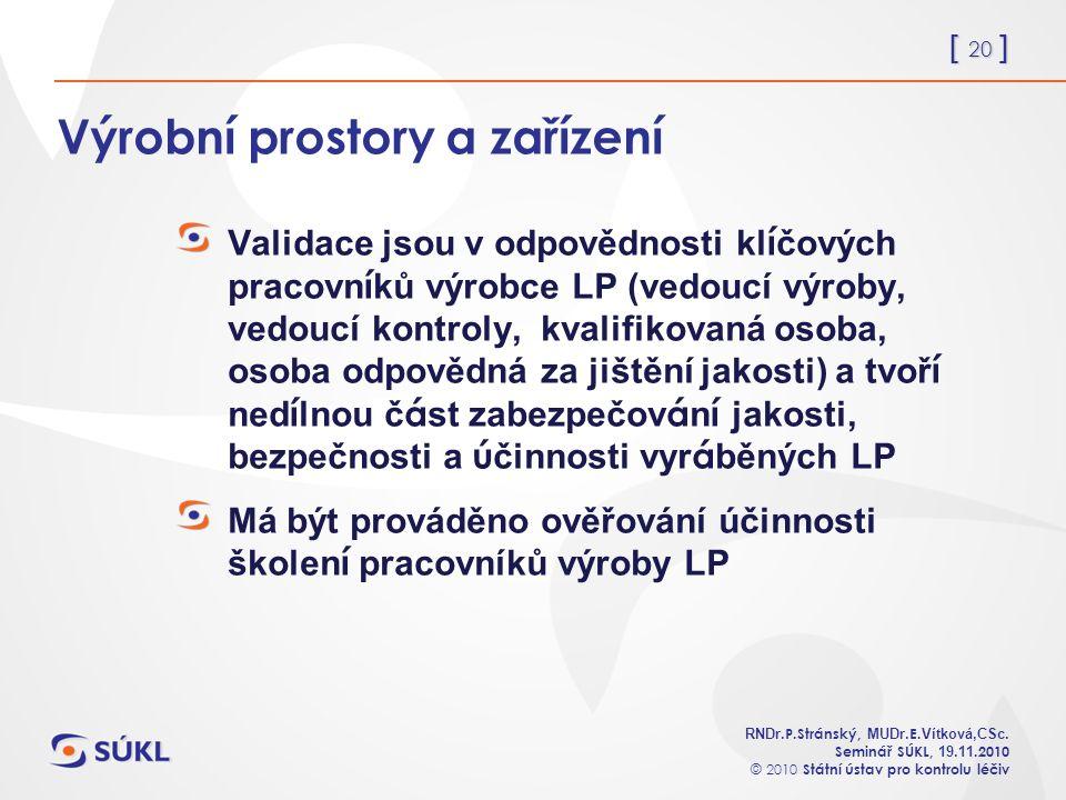 [ 20 ] RNDr. P.Stránský, MUDr. E. Vítková,CSc.