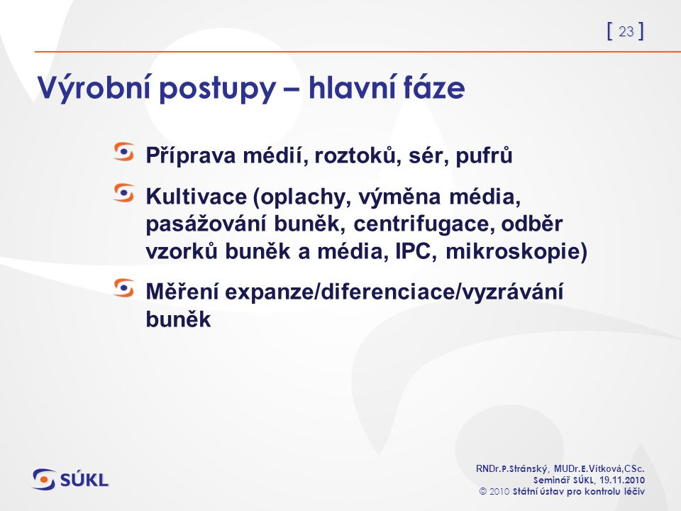 [ 23 ] RNDr. P.Stránský, MUDr. E. Vítková,CSc.