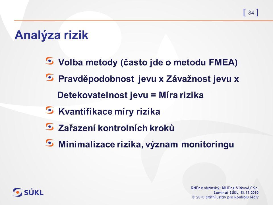 [ 34 ] RNDr. P.Stránský, MUDr. E. Vítková,CSc.