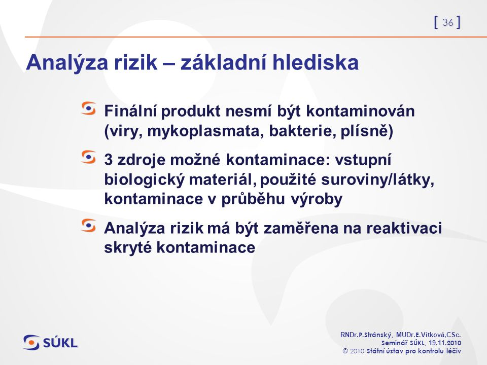[ 36 ] RNDr. P.Stránský, MUDr. E. Vítková,CSc.