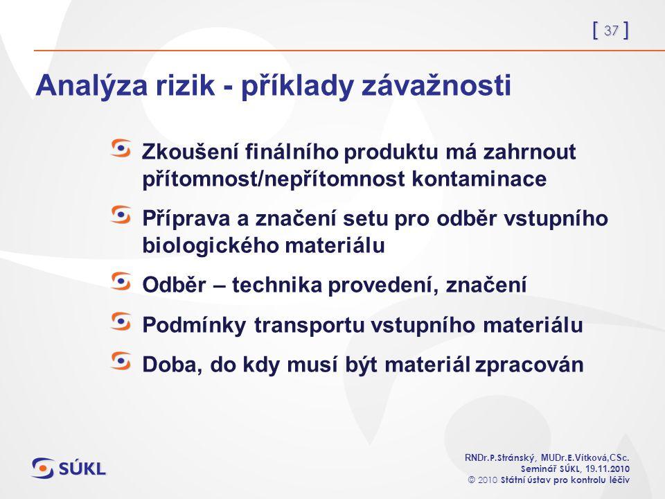 [ 37 ] RNDr. P.Stránský, MUDr. E. Vítková,CSc.