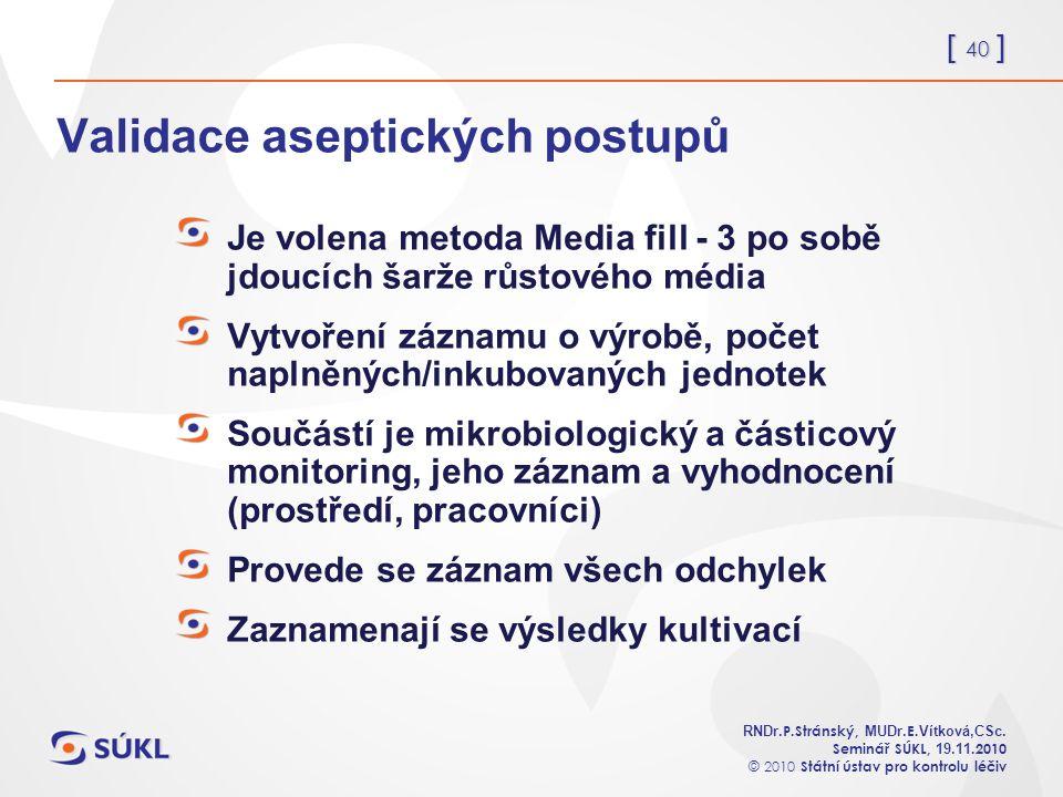 [ 40 ] RNDr. P.Stránský, MUDr. E. Vítková,CSc.