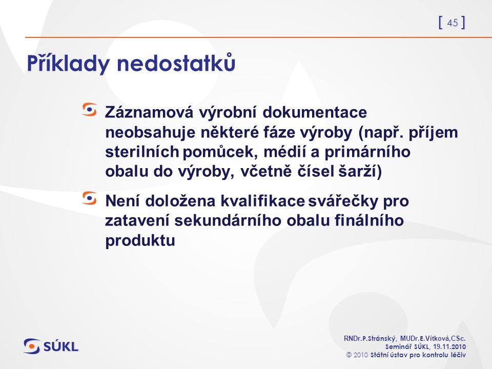 [ 45 ] RNDr. P.Stránský, MUDr. E. Vítková,CSc.