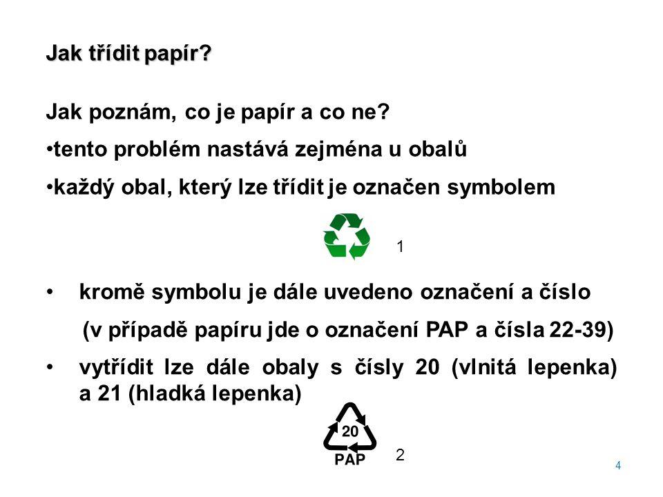 Jak třídit papír? Jak poznám, co je papír a co ne? tento problém nastává zejména u obalů každý obal, který lze třídit je označen symbolem 4 kromě symb