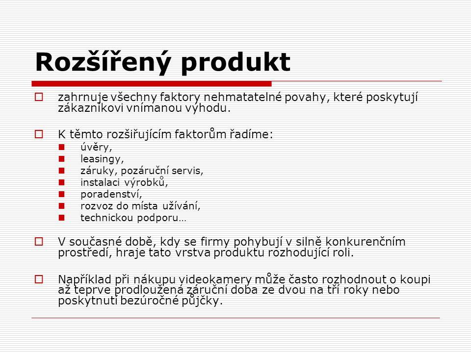 Rozšířený produkt  zahrnuje všechny faktory nehmatatelné povahy, které poskytují zákazníkovi vnímanou výhodu.