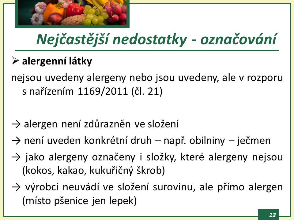 12  alergenní látky nejsou uvedeny alergeny nebo jsou uvedeny, ale v rozporu s nařízením 1169/2011 (čl.