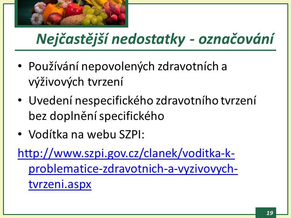 19 Používání nepovolených zdravotních a výživových tvrzení Uvedení nespecifického zdravotního tvrzení bez doplnění specifického Vodítka na webu SZPI: http://www.szpi.gov.cz/clanek/voditka-k- problematice-zdravotnich-a-vyzivovych- tvrzeni.aspx Nejčastější nedostatky - označování