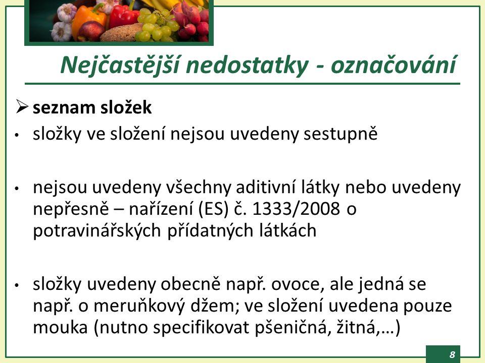 8  seznam složek složky ve složení nejsou uvedeny sestupně nejsou uvedeny všechny aditivní látky nebo uvedeny nepřesně – nařízení (ES) č.