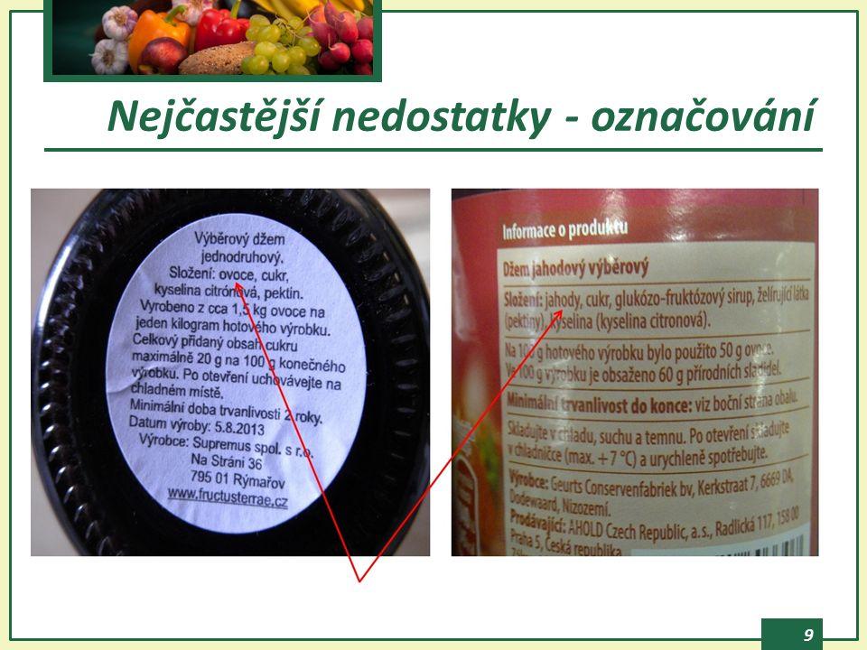 10  množství složky nebo skupiny složek chybí % vyjádření množství složky, která je zdůrazněna v názvu potraviny, vyobrazená na obale apod.
