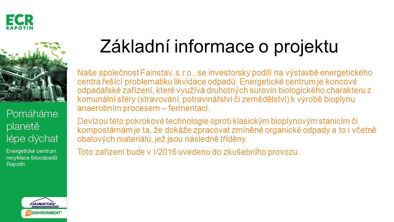 Základní informace o projektu Naše společnost Fainstav, s.r.o., se investorsky podílí na výstavbě energetického centra řešící problematiku likvidace o