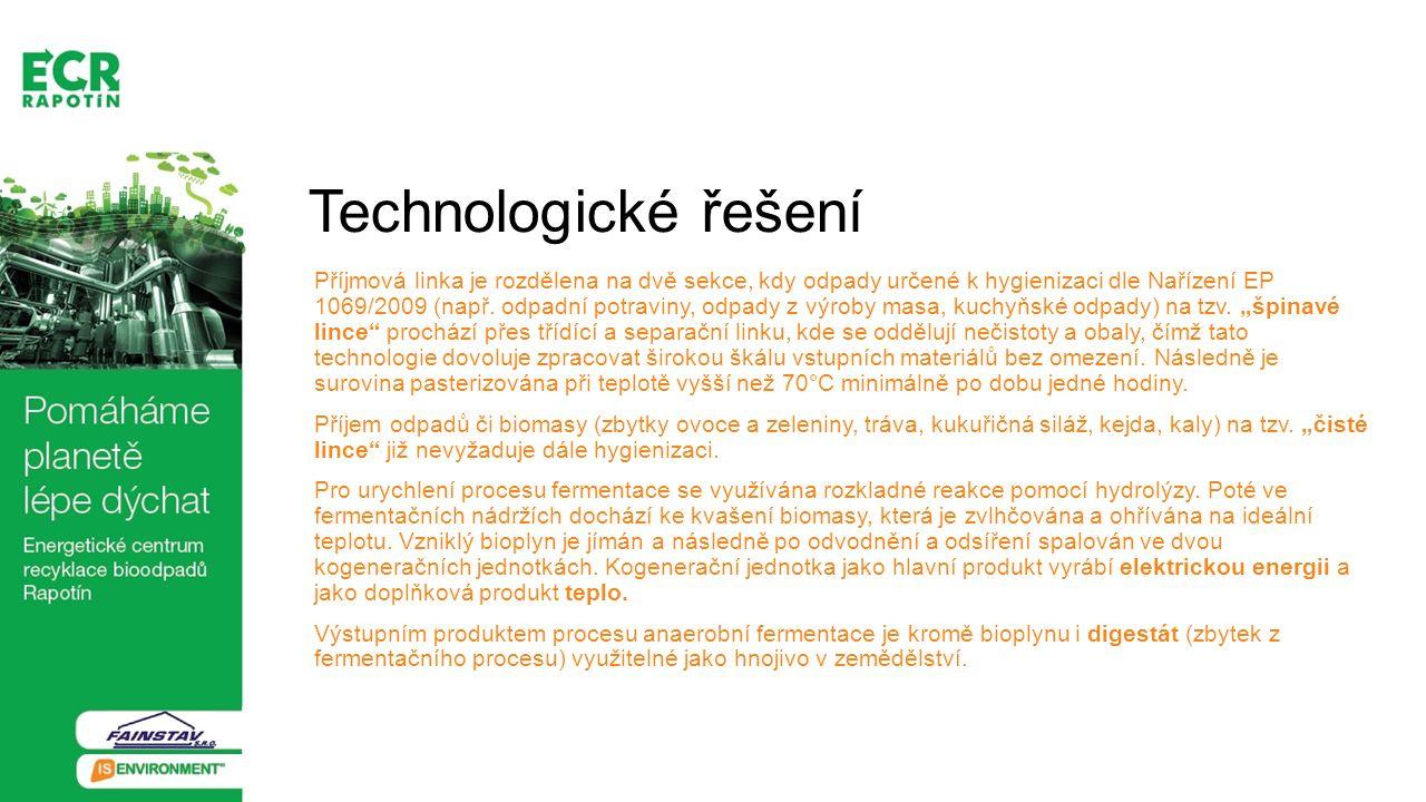 Technologické řešení Příjmová linka je rozdělena na dvě sekce, kdy odpady určené k hygienizaci dle Nařízení EP 1069/2009 (např. odpadní potraviny, odp