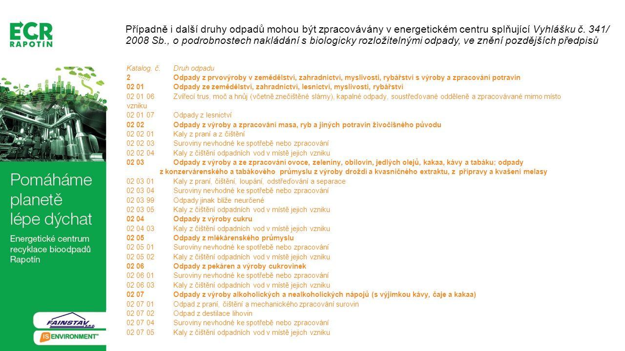 Případně i další druhy odpadů mohou být zpracovávány v energetickém centru splňující Vyhlášku č. 341/ 2008 Sb., o podrobnostech nakládání s biologicky