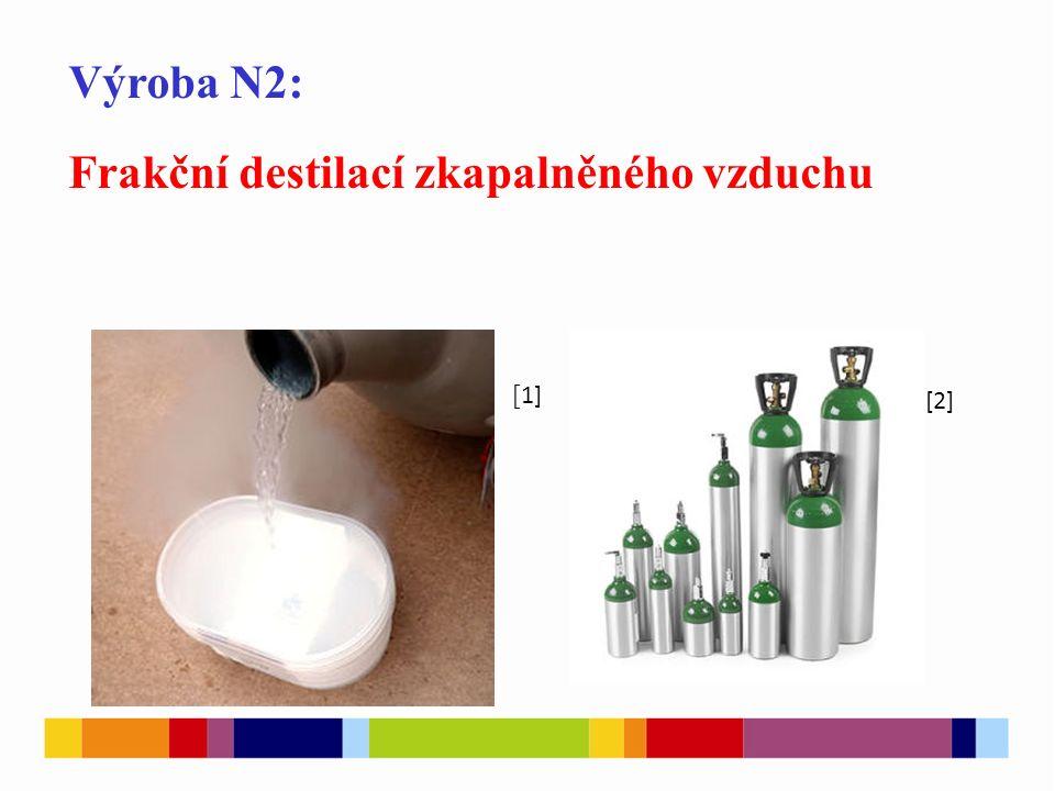 Výroba N2: Frakční destilací zkapalněného vzduchu [ 1] [2]