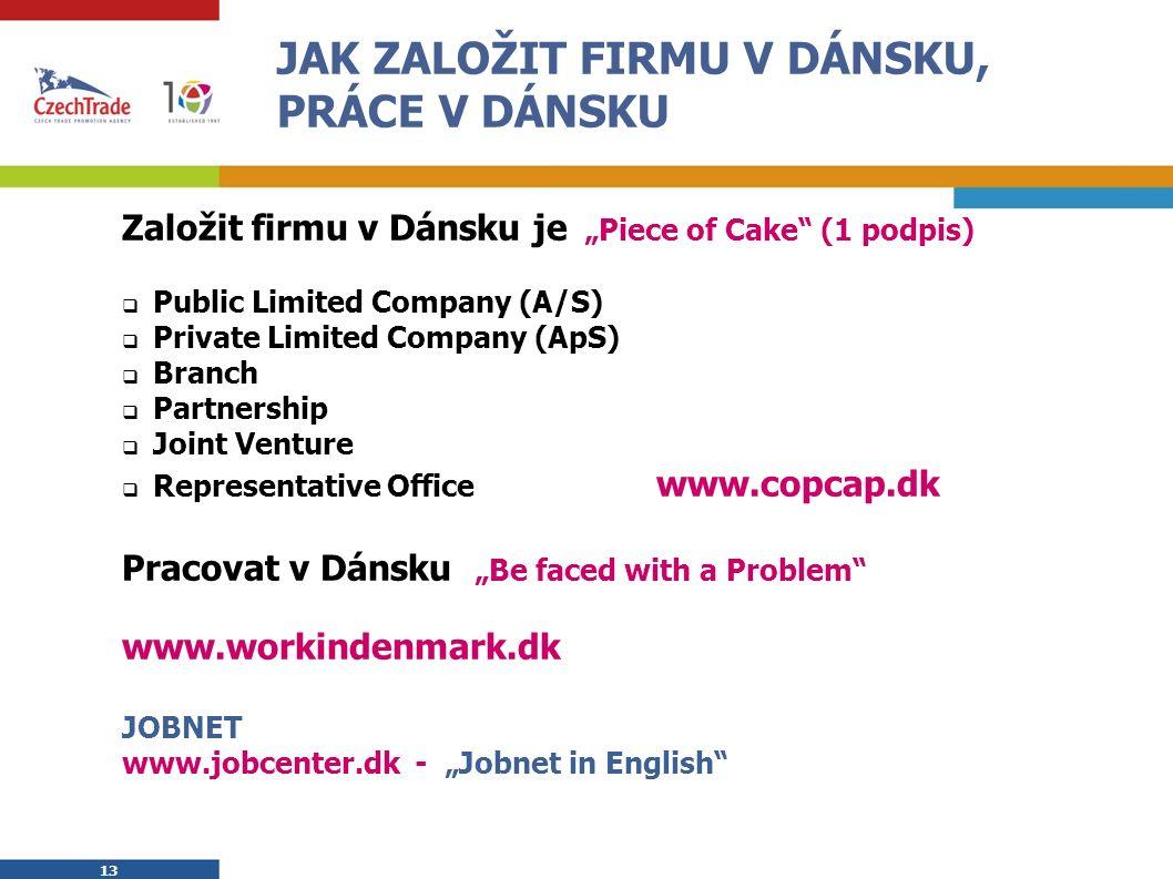 """13 JAK ZALOŽIT FIRMU V DÁNSKU, PRÁCE V DÁNSKU Založit firmu v Dánsku je """"Piece of Cake (1 podpis)  Public Limited Company (A/S)  Private Limited Company (ApS)  Branch  Partnership  Joint Venture  Representative Office www.copcap.dk Pracovat v Dánsku """"Be faced with a Problem www.workindenmark.dk JOBNET www.jobcenter.dk - """"Jobnet in English"""