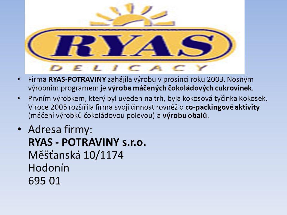 Firma RYAS-POTRAVINY zahájila výrobu v prosinci roku 2003.