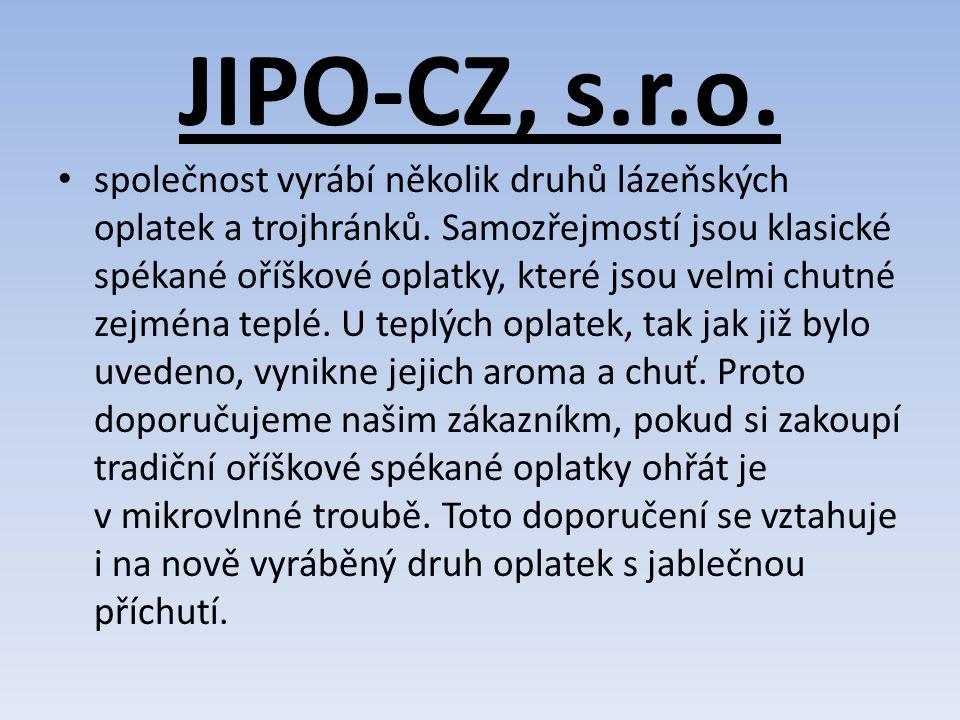 JIPO-CZ, s.r.o.společnost vyrábí několik druhů lázeňských oplatek a trojhránků.