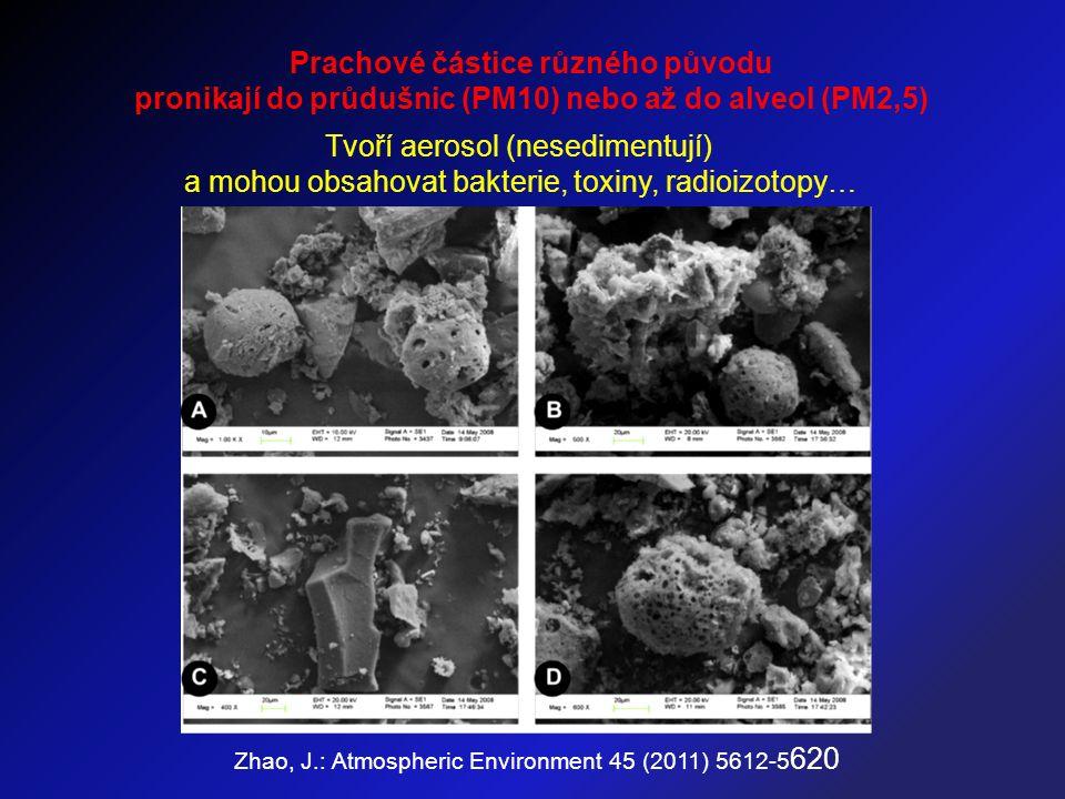 Zhao, J.: Atmospheric Environment 45 (2011) 5612-5 620 Prachové částice různého původu pronikají do průdušnic (PM10) nebo až do alveol (PM2,5) Tvoří aerosol (nesedimentují) a mohou obsahovat bakterie, toxiny, radioizotopy…