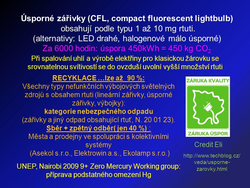 Úsporné zářivky (CFL, compact fluorescent lightbulb) obsahují podle typu 1 až 10 mg rtuti. (alternativy: LED drahé, halogenové málo úsporné) Za 6000 h
