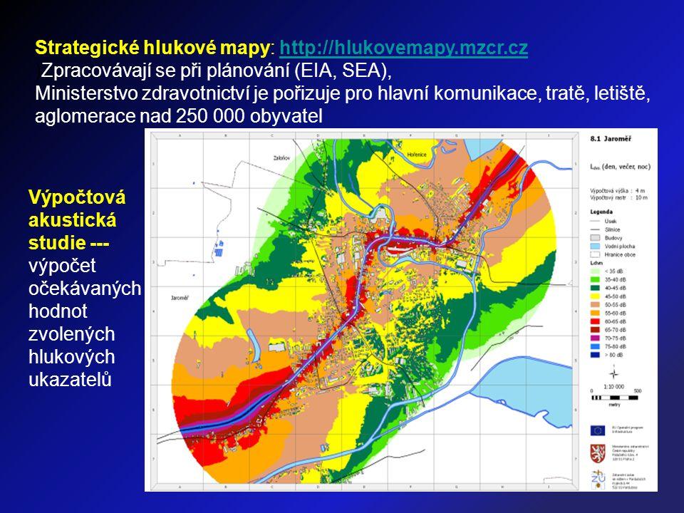 Strategické hlukové mapy: http://hlukovemapy.mzcr.czhttp://hlukovemapy.mzcr.cz )Zpracovávají se při plánování (EIA, SEA), Ministerstvo zdravotnictví je pořizuje pro hlavní komunikace, tratě, letiště, aglomerace nad 250 000 obyvatel Výpočtová akustická studie --- výpočet očekávaných hodnot zvolených hlukových ukazatelů