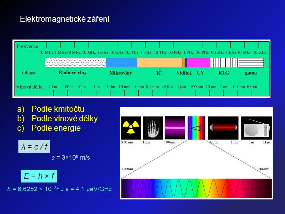 Elektromagnetické záření a)Podle kmitočtu b)Podle vlnové délky c)Podle energie c = 3×10 8 m/s λ = c / f E = h × f h = 6.6252 × 10 −34 J·s = 4.1 μeV/GH