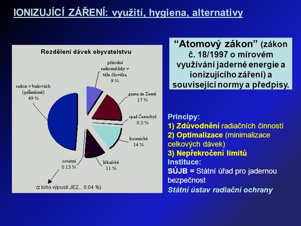 Principy: 1) Zdůvodnění radiačních činností 2) Optimalizace (minimalizace celkových dávek) 3) Nepřekročení limitů Instituce: SÚJB = Státní úřad pro jadernou bezpečnost Státní ústav radiační ochrany Atomový zákon (zákon č.
