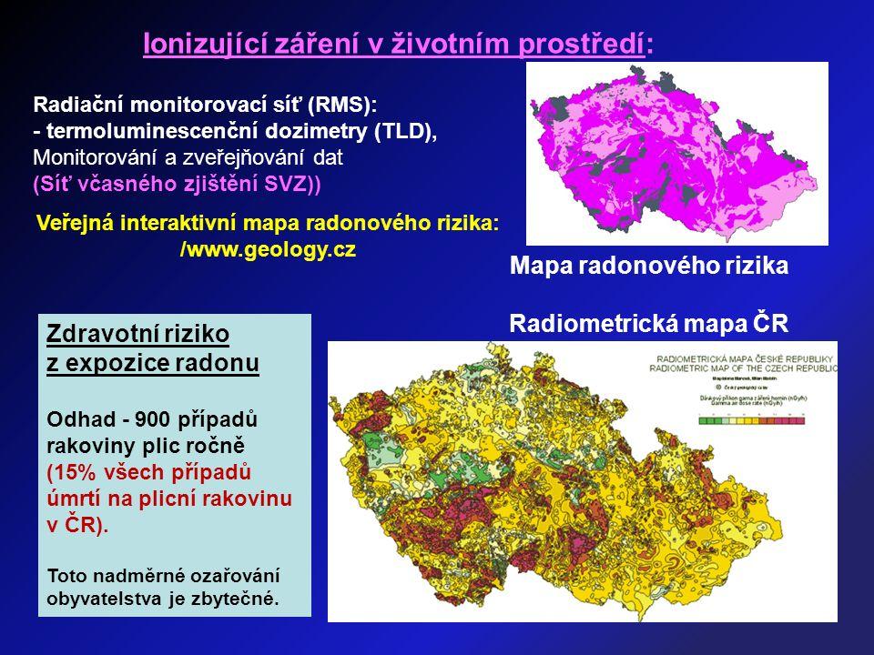 Ionizující záření v životním prostředí: Radiační monitorovací síť (RMS): - termoluminescenční dozimetry (TLD), Monitorování a zveřejňování dat (Síť vč