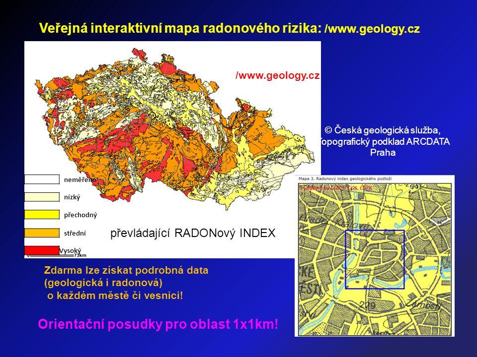 © Česká geologická služba, Topografický podklad ARCDATA Praha Zdarma lze získat podrobná data (geologická i radonová) o každém městě či vesnici.