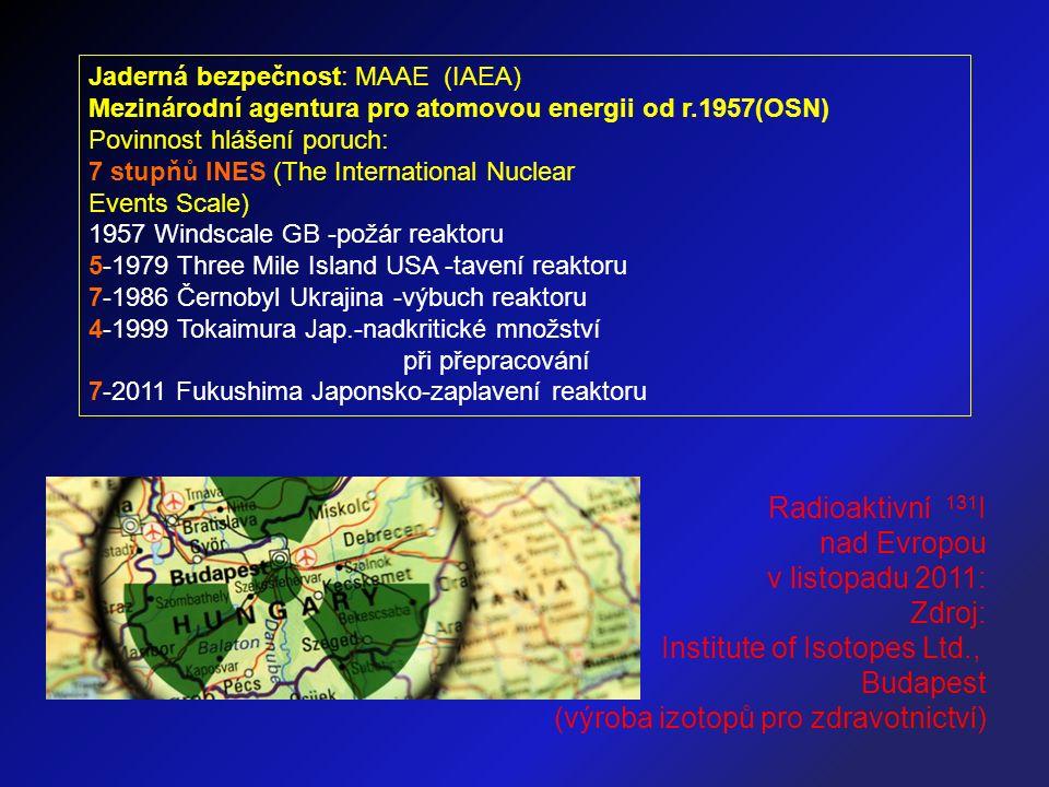 Jaderná bezpečnost: MAAE (IAEA) Mezinárodní agentura pro atomovou energii od r.1957(OSN) Povinnost hlášení poruch: 7 stupňů INES (The International Nuclear Events Scale) 1957 Windscale GB -požár reaktoru 5-1979 Three Mile Island USA -tavení reaktoru 7-1986 Černobyl Ukrajina -výbuch reaktoru 4-1999 Tokaimura Jap.-nadkritické množství při přepracování 7-2011 Fukushima Japonsko-zaplavení reaktoru Radioaktivní 131 I nad Evropou v listopadu 2011: Zdroj: Institute of Isotopes Ltd., Budapest (výroba izotopů pro zdravotnictví)