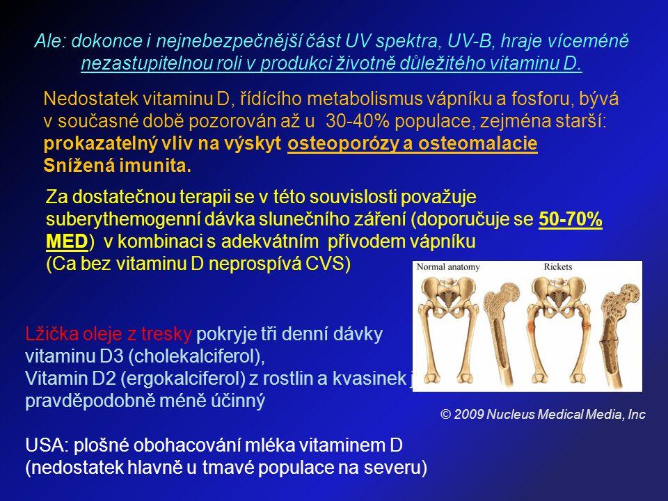 Ale: dokonce i nejnebezpečnější část UV spektra, UV-B, hraje víceméně nezastupitelnou roli v produkci životně důležitého vitaminu D.