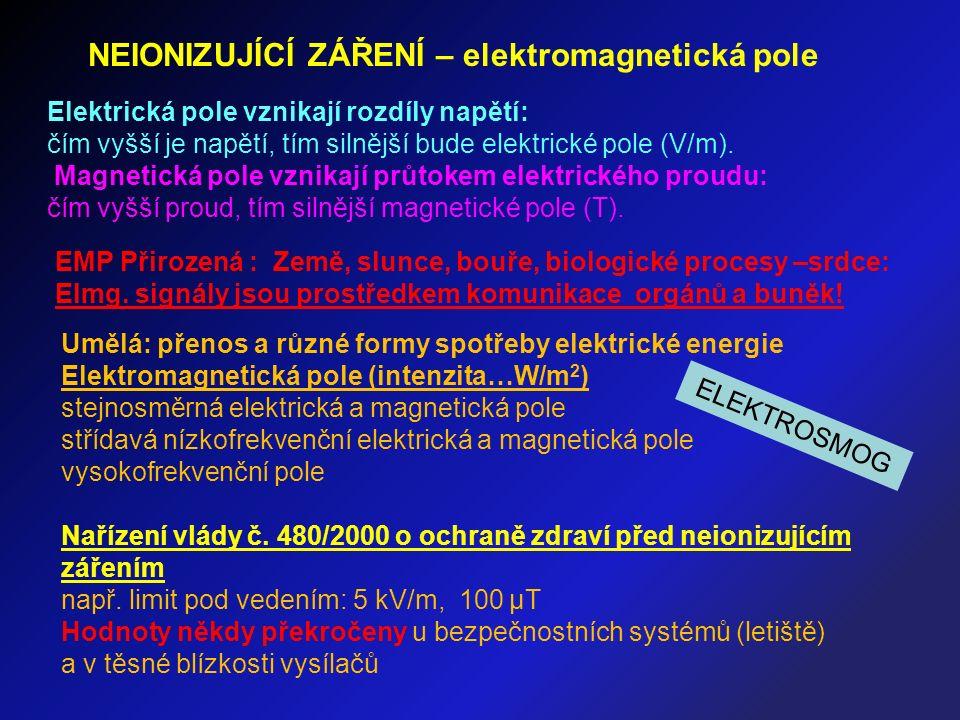 NEIONIZUJÍCÍ ZÁŘENÍ – elektromagnetická pole Elektrická pole vznikají rozdíly napětí: čím vyšší je napětí, tím silnější bude elektrické pole (V/m).
