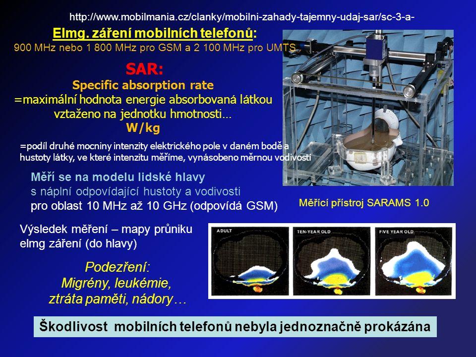Škodlivost mobilních telefonů nebyla jednoznačně prokázána Výsledek měření – mapy průniku elmg záření (do hlavy) Podezření: Migrény, leukémie, ztráta paměti, nádory… Měřící přístroj SARAMS 1.0 http://www.mobilmania.cz/clanky/mobilni-zahady-tajemny-udaj-sar/sc-3-a- Elmg.