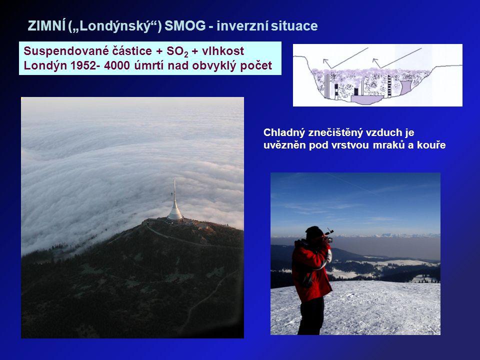 """ZIMNÍ (""""Londýnský ) SMOG - inverzní situace Suspendované částice + SO 2 + vlhkost Londýn 1952- 4000 úmrtí nad obvyklý počet Chladný znečištěný vzduch je uvězněn pod vrstvou mraků a kouře"""