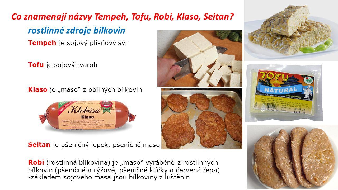 Co znamenají názvy Tempeh, Tofu, Robi, Klaso, Seitan.
