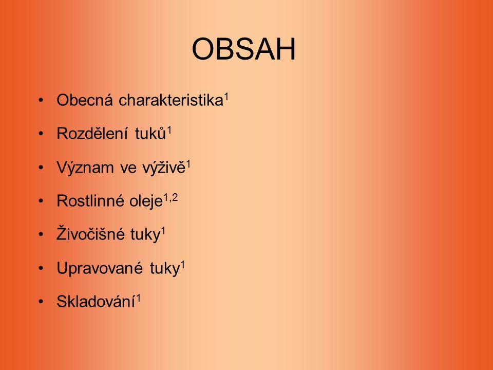 OBSAH Obecná charakteristika 1 Rozdělení tuků 1 Význam ve výživě 1 Rostlinné oleje 1,2 Živočišné tuky 1 Upravované tuky 1 Skladování 1